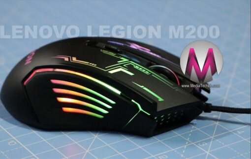 Lenovo Legion M200 RGB Gaming Mouse 5-button design up to 2400 DPI with 4 levels DPI switch 7-color circulating-backlight GX30P93886,Black