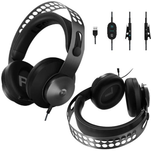 Lenovo Legion H500 PRO 7.1 Surround Sound Gaming Headset Noise-Cancelling Mic Memory Foam & PU Leather Earcups Stainless Steel Headband PC PS4 Xbox One Nintendo Switch GXD0T6986