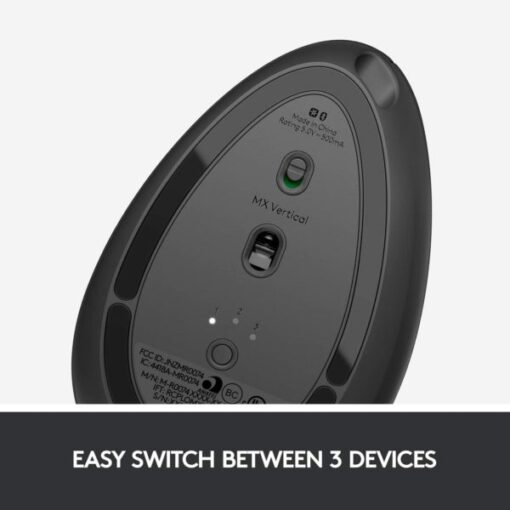 Logitech MX Vertical Wireless Mouse – Advanced Ergonomic Design Reduces Muscle Strain, Control and Move Content Between 3 Windows and Apple Computers